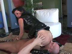 Hardcore MILF fantasy. Staring porn star Christian XXX and Raquel Devine. This is one hot movie. Just sit back and watch as this older woman squats over this studs face, and gets him to lick her constricted pussy. Then she forces him to suck on her strap on, previous to she inserts her finger, deep in his ass.