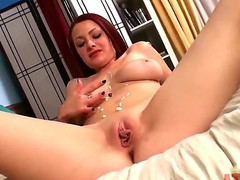Wonderful large boobed chick Jessica Robbin is showing on camera her sweet in nature's garb body, her amazing shaved cunt and her awesome large ass. Enjoy the hot video.