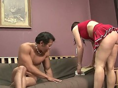 Amazing brunette cheerleader Beverly Hills is taking her school uniform off and showing her beautiful titties  to her amazing boyfriend. Have a fun the hot video.
