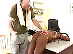 Slim negress spanked with a wet ending!
