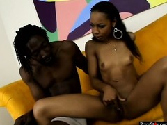 Naughty ebony Misty Stone takes off her bikini and gets kinky