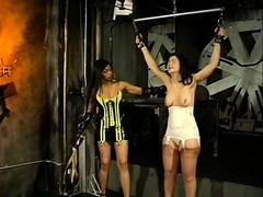 Sexy wax-dripping, ass-whipping Sadomasochism punishment for lesbian slave