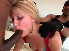 Petite blonde gets double fucked by two