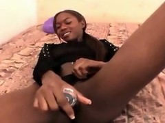 Lovable young black girlfriend in bikini Aisha Anderson toying her petite twat