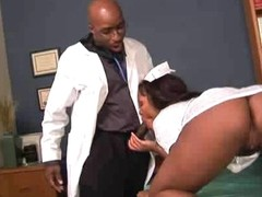 Horny ebony patient gives her falsify a blowjob