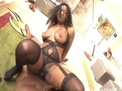 Chubby black slut fucks a huge dick